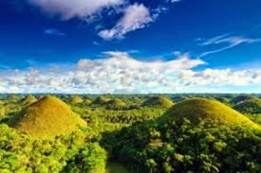 The famous Chocolate Hills in lush green