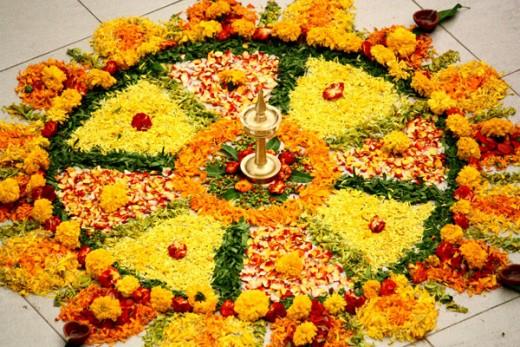 Rangoli Decoration on the day of Ugadi Festival
