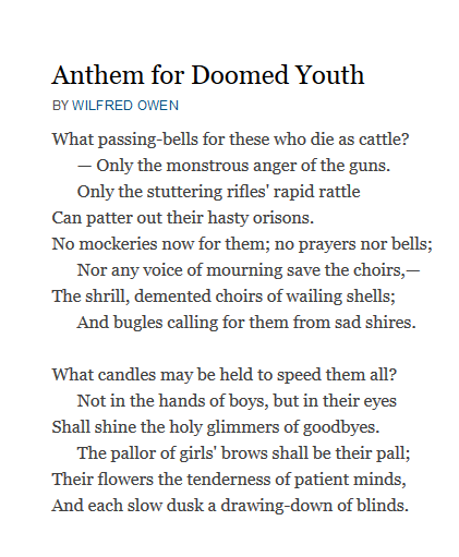an analysis of the use of imagery alliteration and end rhyme in wilfred owens poem anthem for doomed Anthem for doomed youth - imagery wilfred owen: disabled the most powerful symbol of all is there at the start and the end of the poem.