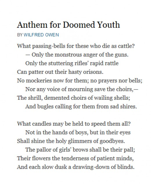 "analysis of anthem for doomed youth ""anthem for doomed youth  owen contrast's ""anthem"" with ""doomed youth"" to show the bitterness and horrific time of the war and  crow testament analysis."