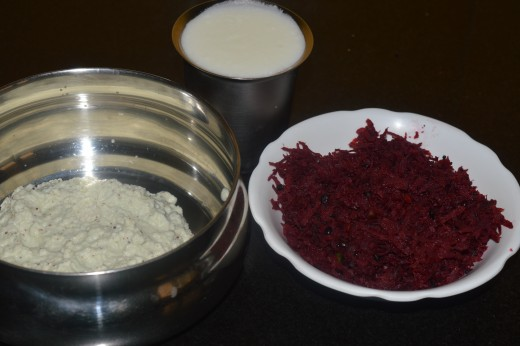 the ground paste, yogurt/thick curd, and beetroot