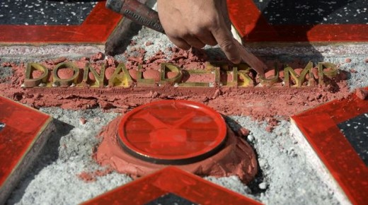 Trump's star on the Hollywood Walk of Fame as it was being repaired after being destroyed by a furious vandal.