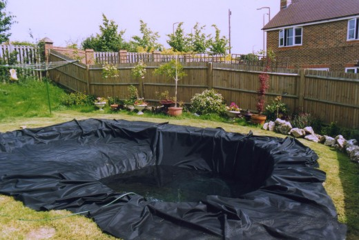 This is how a pond liner is applied