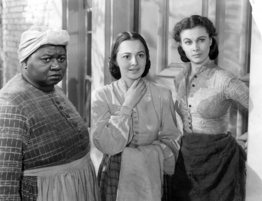 Hattie McDaniel (Mammy), Olivia de Havilland (Melanie) and Vivien Leigh (Scarlett).