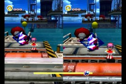 Metal Sonic and Amy in Sonic Adventure 2 Battle's Multiplayer Mode.