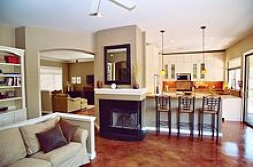 This stage family room shows off the neutral color scheme.