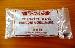 Yellow eye beans offer a creamy consistency and no tough outer skins, and thus, are a good choice for a meatless loaf. These beans can usually be found in the same section as dried green and yellow peas.
