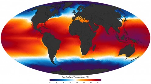Global sea surface temperatures.
