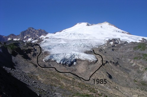 Snow cap retreat since 1985
