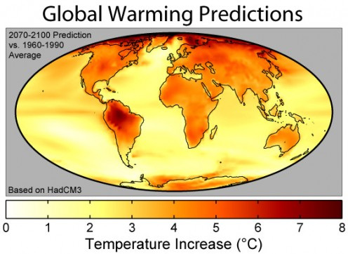 Global warming prediction map
