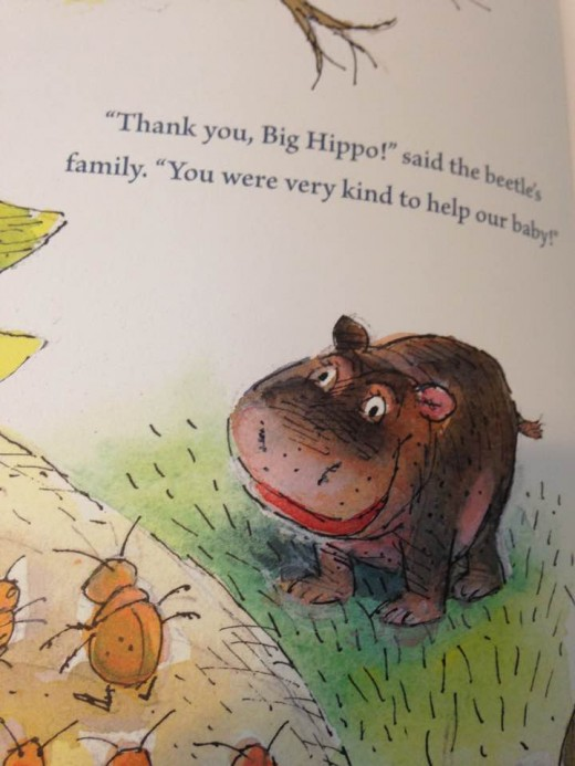 Little Hippo helps the little bug and receives a new name of Big Hippo from the bug's family