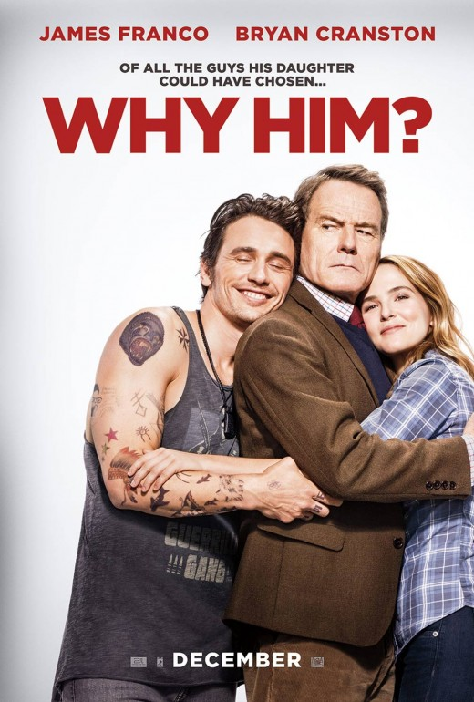 Why Him? theatrical poster featuring James Franco (Left), Middle (Bryan Cranston), and Right (Zoey Deutch).