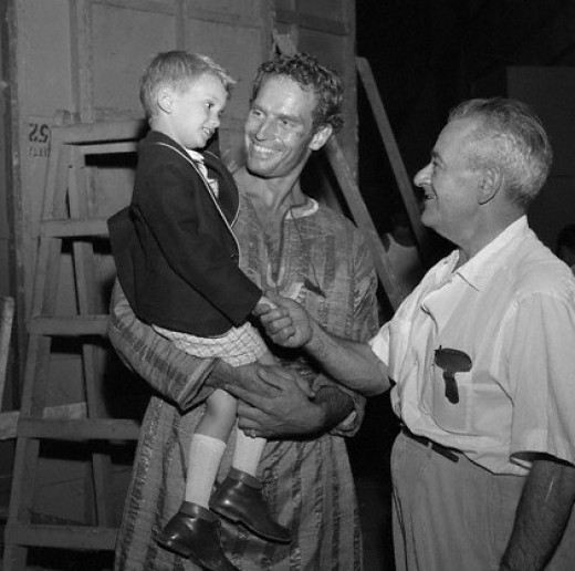 William Wyler meets Charlton Heston's son, Fraser, on the set of Ben-Hur