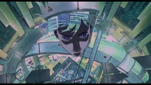 Major Kusanagi using her thermal-optic technology to fade away in Ghost In The Shell (1995).