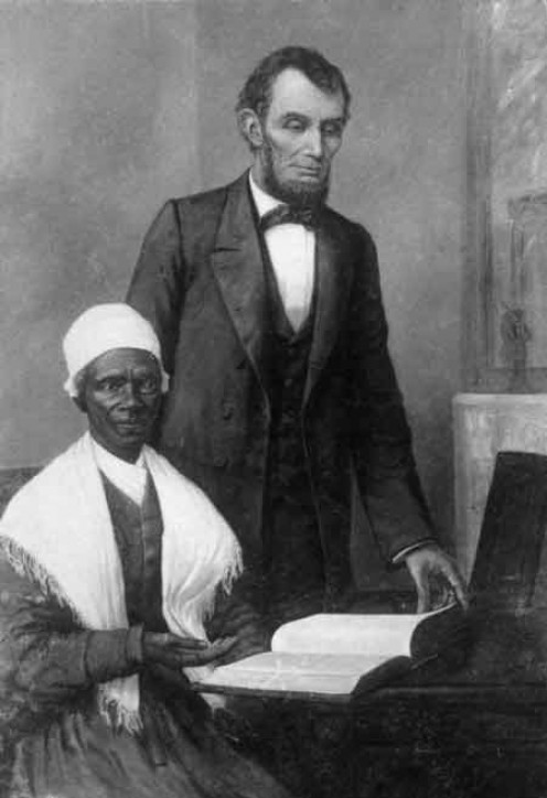 Portrait: Lincoln Showing Sojourner the Bible Presented Him by the Colored People of Baltimore