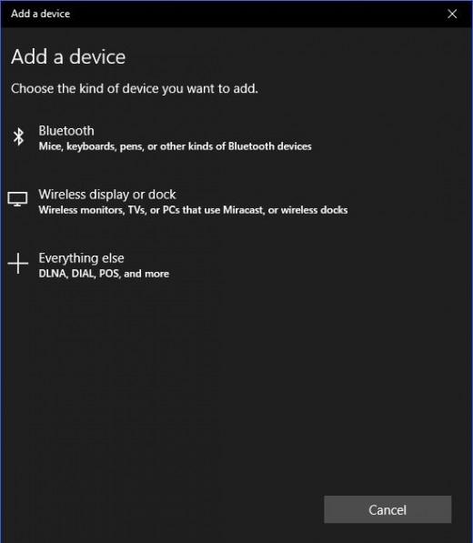 "Click ""Bluetooth"" in the Add a Device screen."