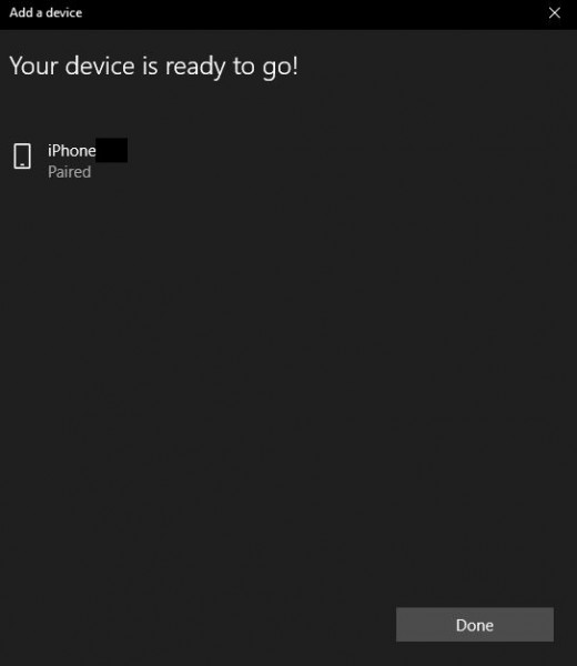 A message will appear when the smartphone has been successfully paired with your computer.