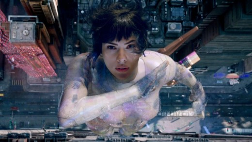 Scarlett Johansson (Motoko Kusanagi) as she activates her thermo-optical camoflauge.