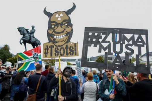 Thousands of South Africans protest against Zuma after cabinet reshuffle