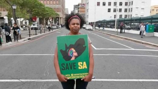 Claudia Klaase from District Six outside Parliament, Cape Town