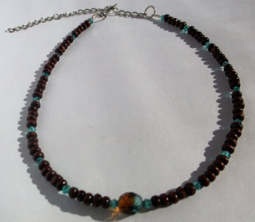 Brown Bead Choker Necklace