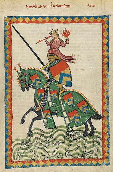 Ulrich von Liechtenstein (between 1305 and 1315 from the Manesse Codex)