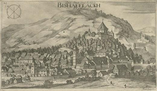 Škofja Loka with Castle (by Valvasor, year 1679)