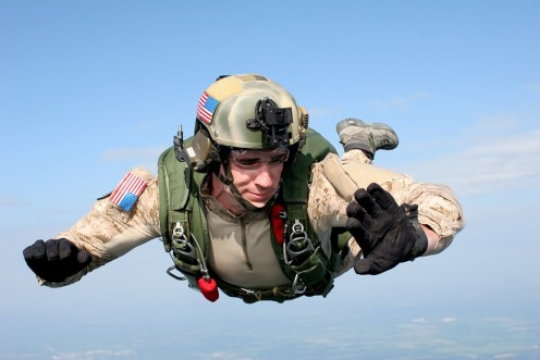 Army skydiver in action.