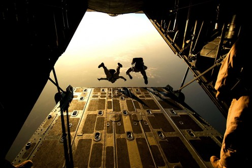 These are military skydivers.