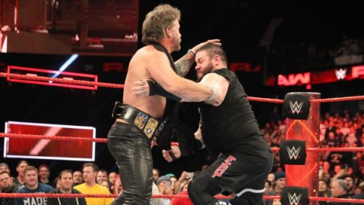 Jericho brawls with Owens on RAW. Photo: WWE
