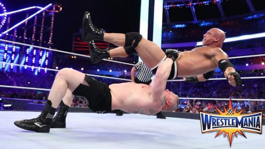 Lesnar takes Goldberg to Suplex City. Photo: WWE