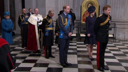 Royal Family Members at St. Paul's Cathedral for Queen Elizabeth's birthday celebration.