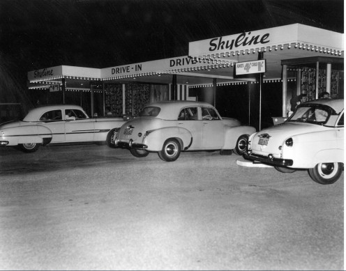 Ticket booths at  Skyline Drive-in  1957 South Wales.