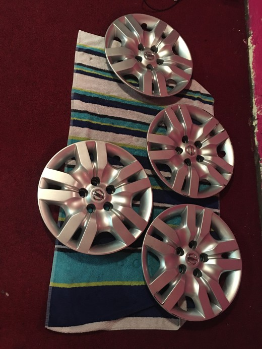 Clean hubcaps ready for prep