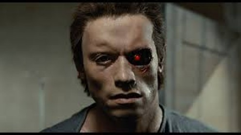 The Terminator was a robot covered in a skin =like material and the machine was able to think and learn on its on.