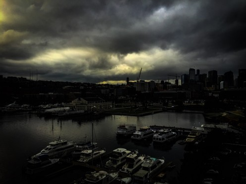 Lake Union in Seattle on a stormy day.