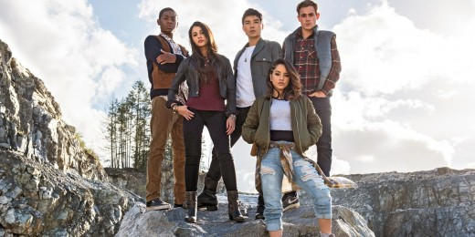 The cast of Saban's Power Rangers. From left to right: RJ Cyler, Naomi Scott, Ludi Lin, Becky G, and Dacre Montgomery).