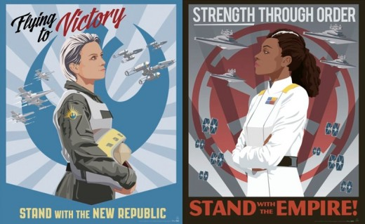 Official (not fanmade) images of Norra Wexley (left) and Grand Amiral Rae Sloane (right). Illustrated by Steve Thomas