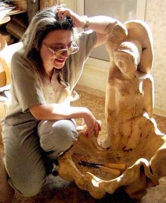 Russian woodwork artist Anna Darbinyan Nikolaevna.