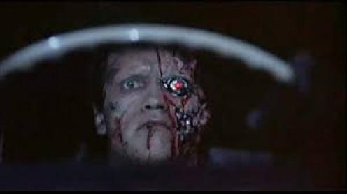 Arnold Schwarzenegger plays as a cyborg killer who looks like a human on the outside.