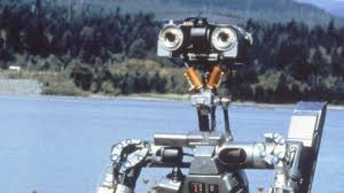 Johnny Five is a robot with the ability to learn just as humans do and the film stars Steve Guttenberg, Ally Sheedy and Fisher Stevens.