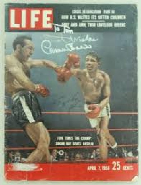 Carmen Basilio and Sugar Ray Robinson is seen here gracing the cover of Life magazine.