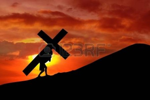 Jesus Christ forced by Romans to carry own Cross before His Crufixion.