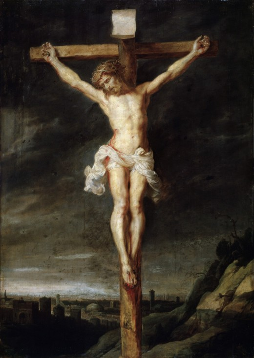 Crucifixion of Jesus Christ shown on Cross in picture of painting.