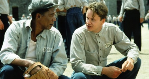 Freeman, left, as Red, and Robbins as Andy act in an intense scene in Shawshank Redemption.