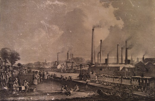 St.Rollox Chemical Works at the opening of the Garnkirk and Glasgow railway in 1831. A painting by D. O.Hill.