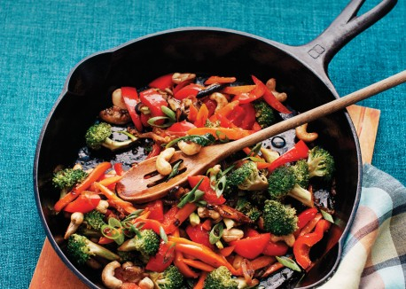 Fry all the veggies with salt and black pepper