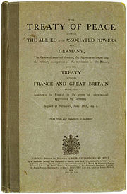 In 1919, the Treaty of Versailles was signed.