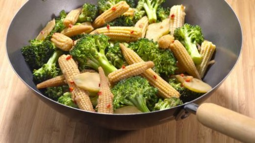fry the broccoli and baby corn with salt and black pepper