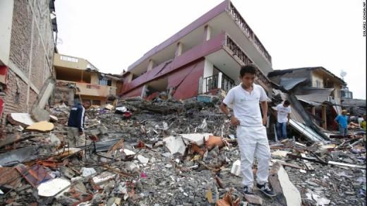 Aftermath of the 2016 Equador quake.